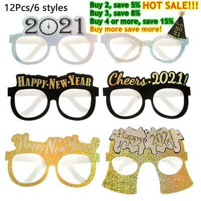 12Pcs 2021 Happy New Year Glitter Paper Glasses Eve Festival Party Decoration// • 3.55£
