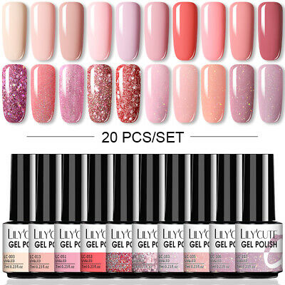 20Pcs/Set LILYCUTE 7ML UV Nail Gel Polish Lasting Glitter Soak Off Gel Varnish • 19.99£