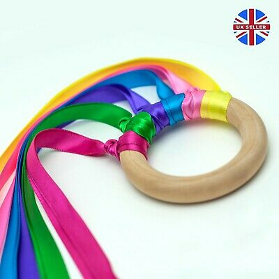 Rainbow Ribbon Wooden Ring Sensory Toy, Perfect Baby Shower Gift For Girl Or Boy • 3.99£