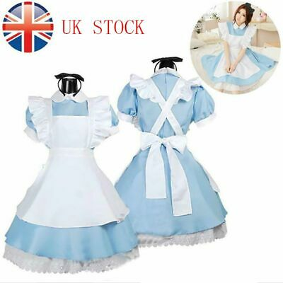 Kids Alice In Wonderland Girls Party Fancy Dress Maid Lolita Cosplay Costume • 10.99£