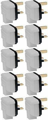 13 Amp Plug Tops Heavy Duty Permaplug Hard Rubber 13A 3 Pin White - Pack Of 10 • 17.16£
