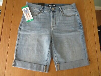 DKNY Jeans Ladies Roll-Up Shorts Blue Denim SIZE 12 • 12.50£