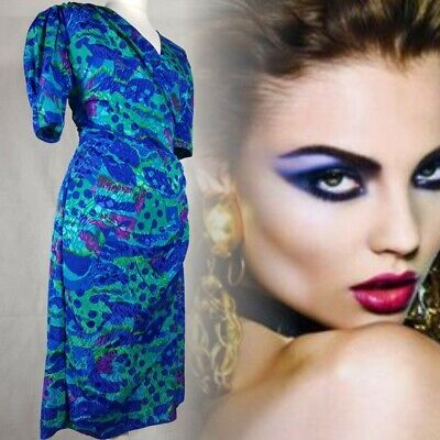Vintage 80s Power Dress Electric Blue & Green Size 10 Silky Shiny Pencil • 24.95£