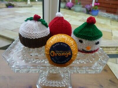 2 Hand Knitted Christmas Chocolate Orange Covers - Pudding, Snowman Or Santa Hat • 4.50£