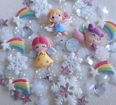 70 X Christmas Angel Fairy Snowflake Rainbow Stars Flat Back Cabochon Mix Gems • 3.50£