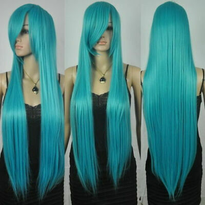 New Extra Long Straight Rapunzel Tangled Dark Turquoise Bangs Cosplay Wigs • 18.98£