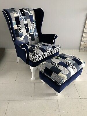 Parker Knoll WingBack Chair And Footstool Upholstered In Designers Guild Velvet • 699£