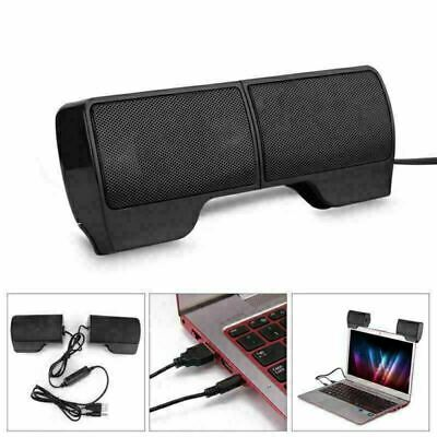 USB Clip-On Computer Sound Bar Stereo Laptop Lightweight Notebook Mini Speakers • 10.99£