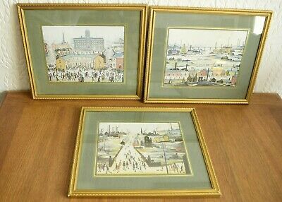 Three Vintage Lowry Framed Prints With Picture Hooks & String • 27£