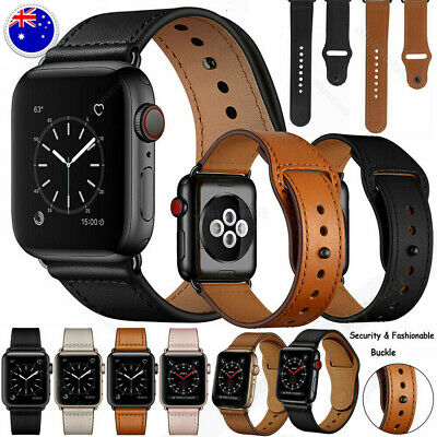AU14.89 • Buy Genuine Leather Strap IWatch Series 5 4 3 2 1 38 40 42 44mm For Apple Watch Band