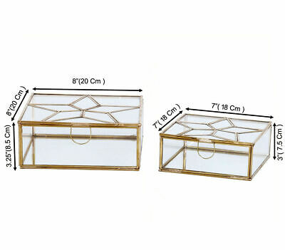 Stylish Brass And Glass Storage  Box With One Compartment / Perfect For Gift • 19.99£