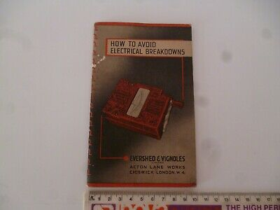 Megger Pocket Book How To Avoid Electrical Breakdowns Insulation Testing *grubby • 5.99£