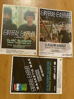 £16.99 • Buy Crystal Castles Collection Of Scottish Tour Glasgow Show Concert Gig Posters X 3