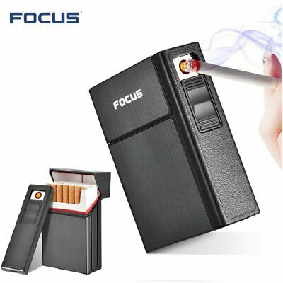 Cigarette Case Dispenser Tobacco Storage Box Holder With Windproof USB Lighter • 4.59£