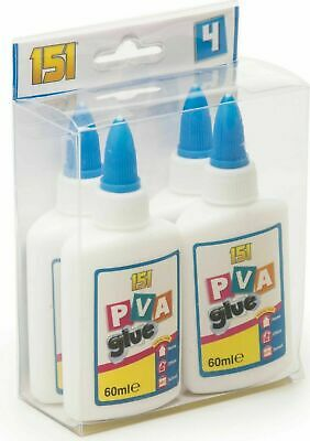 PVA Glue Washable Child Safe Kids School Craft Home Office NON Toxic 4x60ml • 4.98£