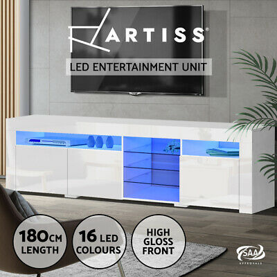 AU209.95 • Buy Artiss TV Cabinet Entertainment Unit Stand RGB LED Gloss 3 Doors 180cm White
