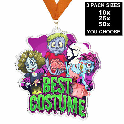 $19.70 • Buy HALLOWEEN BEST COSTUME ACRYLIC MEDAL 60mm, 10, 25 Or 50 PACK WITH RIBBONS