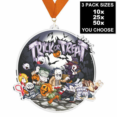 $19.70 • Buy HALLOWEEN PARTY TRICK OR TREAT ACRYLIC MEDAL 60mm, 10, 25 Or 50 PACK AND RIBBONS