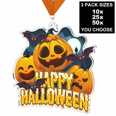 $19.70 • Buy HAPPY HALLOWEEN PARTY ACRYLIC MEDAL 60mm, 10, 25 Or 50 PACK AND RIBBONS