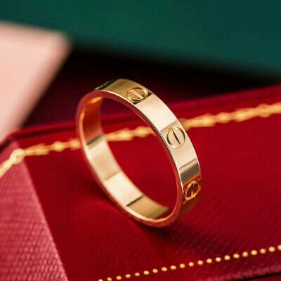 Fashion Lady STAINLESS STEEL LOVE SCREW RING GOLD SILVER ROSE-GOLD WEDDING Gift • 3.98£