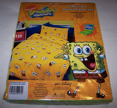 AU24.95 • Buy SpongeBob Squarepants Funny Faces Single Bed Yellow Printed Quilt Cover Set New