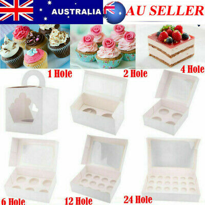 AU13.98 • Buy Cupcake Boxes 1 2 4 6 12 24 Hole Cake Box Muffin Cups Patty Pans Cake Boards LOT