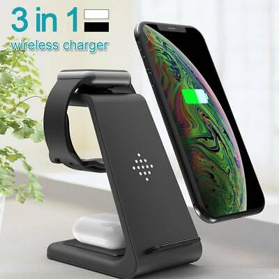 AU40.29 • Buy Wireless Fast Charger Dock  3in1 Charging Pad Mat Stand For Apple Watch IPhone