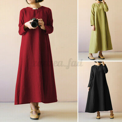 AU15.21 • Buy UK Womens Long Sleeve Casual Loose Solid Cotton Kaftan Baggy Maxi Dress Pullover