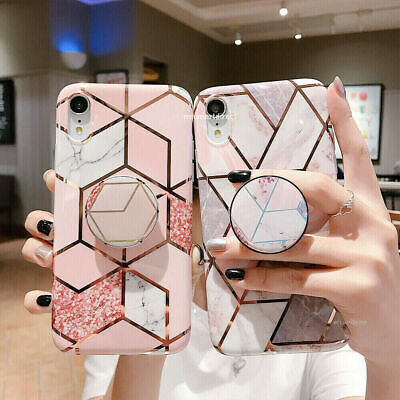 AU6.99 • Buy Geometric Marble Case For IPhone 11 XS Max 8 7 Plus XR With Pop Up Holder Sock