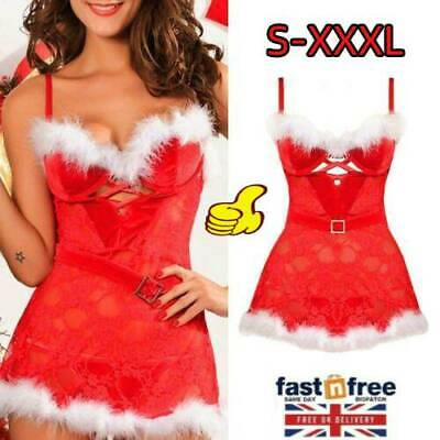 Christmas Santa Claus Outfit Xmas Sexy Lingerie Costume Party Fancy Dress UK • 6.09£