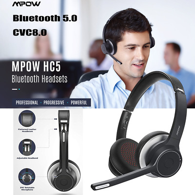 Mpow Bluetooth 5.0 Headset Over Ear Office Call Center Truck Headphones With Mic • 31.99£