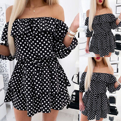 Womens Sexy Off Shoulder Mini Swing Dresses Ladies Polka Dot Sundress Holiday • 10.89£