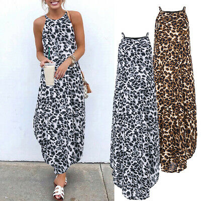 AU12.59 • Buy ZANZEA Women Summer Long Maxi Sundress Sleeveless Plus Size Leopard Print Dress