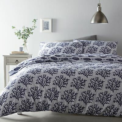 Nautical King Size Duvet Cover Set Double-sided Bedding Fish Ocean Cove Blue • 21.99£