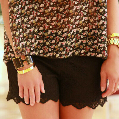 Zara Summer Black Lace Shorts Hotpants Zipper Boho Festival Bloggers Size XS • 19.95£