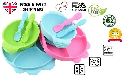£16.99 • Buy Baby Toddler Weaning Silicone Suction Plate Bowl With Lid & Matching Spoon Set