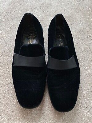 Bally Velvet Loafers Black Leather Mens Lace Up Dress Shoes - Size Uk 10 • 49.99£