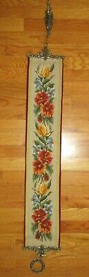 Vintage Needlepoint Bell Pull Floral Tapestry Flower Finished Heavy Solid Ends • 100£
