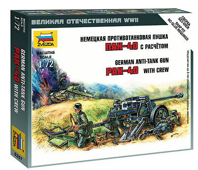Zvezda 1/72 Figures - German PAK-40 Anti Tank Gun With Crew Z6257 • 4.95£