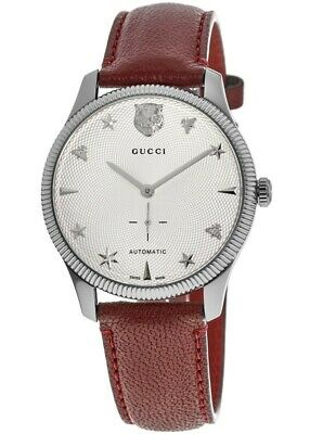 AU1300.67 • Buy New Gucci G-Timeless Automatic Silver Dial Red Leather Unisex Watch YA126346