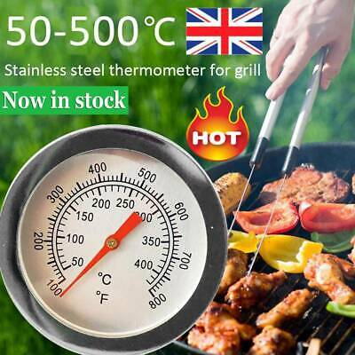 UK BBQ Barbecue Grill Stainless Steel Temperature Thermometer Gauge 50-500℃ • 4.27£