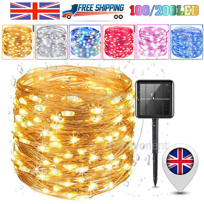 100/200LED Solar String Lights Waterproof Copper Wire Fairy Outdoor Garden Party • 9.99£