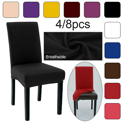 4/8PCS Dining Chair Seat Covers Slip Stretch Wedding Banquet Party Removable UK • 7.99£