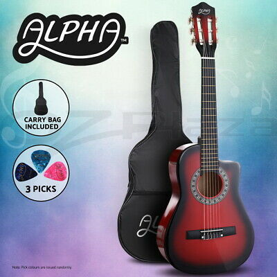 """AU59.95 • Buy Alpha 34"""" Inch Guitar Classical Acoustic Cutaway Wooden Kids Gift 1/2 Size Red"""