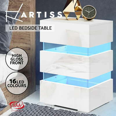 AU129.95 • Buy Artiss Bedside Tables Side Table RGB LED Lamp 3 Drawers Nightstand Gloss White