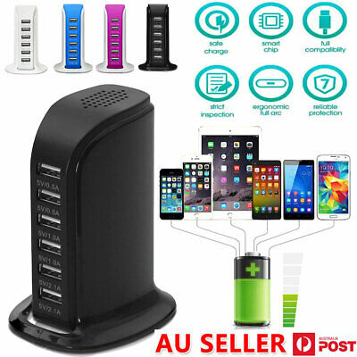 AU19.89 • Buy 6 Port Charging Station USB Desktop Charger Rapid Tower Power Adapter Wall HUB