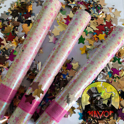 £8.95 • Buy 40cm STAR FOIL Party CONFETTI Cannons Poppers Shooter Wedding New Years Large