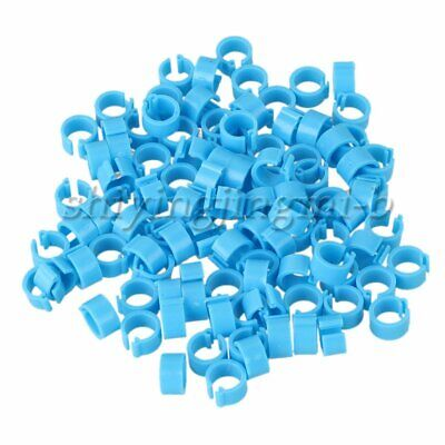 100 X Blue Plastic Pigeon Leg Clip Rings For Various Poultry Birds Hens Pigeon • 4.80£