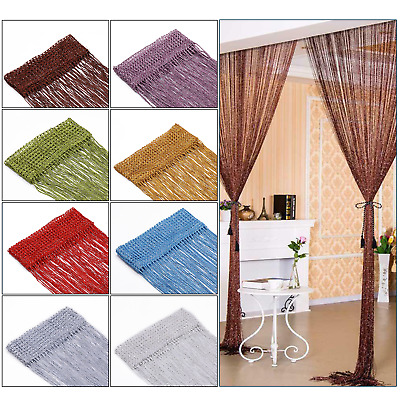 £5.59 • Buy String Curtain Panels Door Fly Screen & Room Divider Voile Net Curtains Glitter