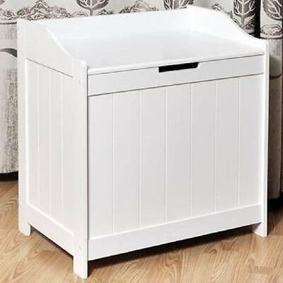Large Wooden Ottoman Toys Box Trunk Chest Wood Storage Cabinet Sideboard White • 28.99£